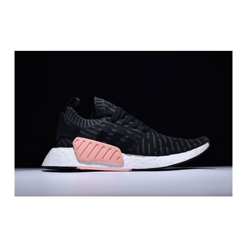 df9cce8f4 New Adidas NMD R2 Primeknit Black White-Pink BA7239