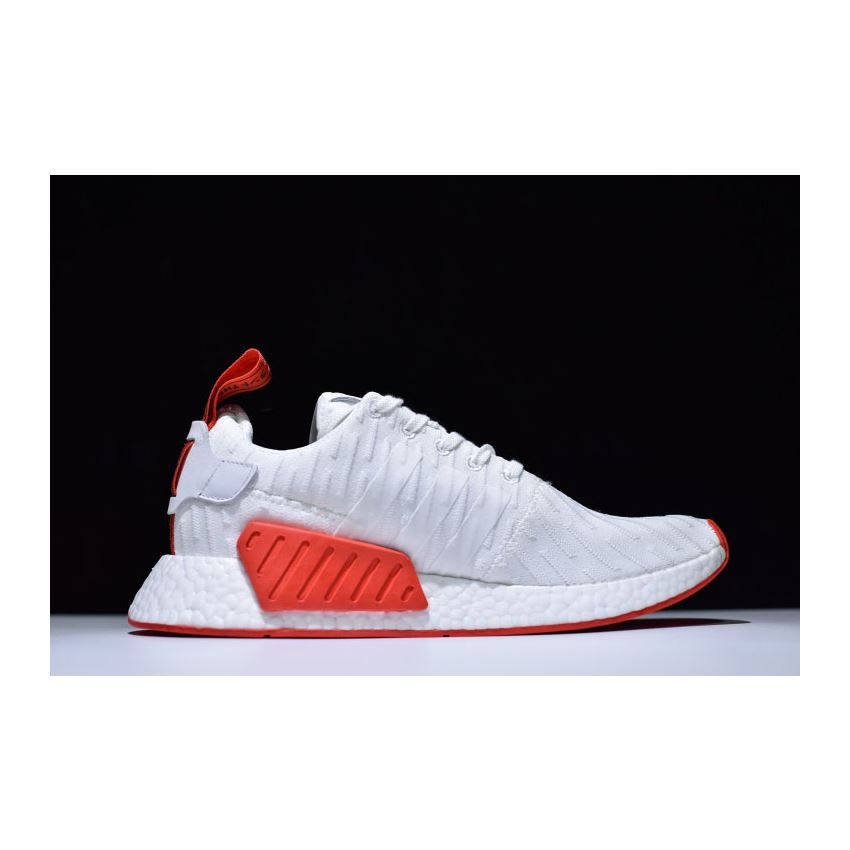 3451db2db Adidas NMD R2 Primeknit in White and Red BA7253